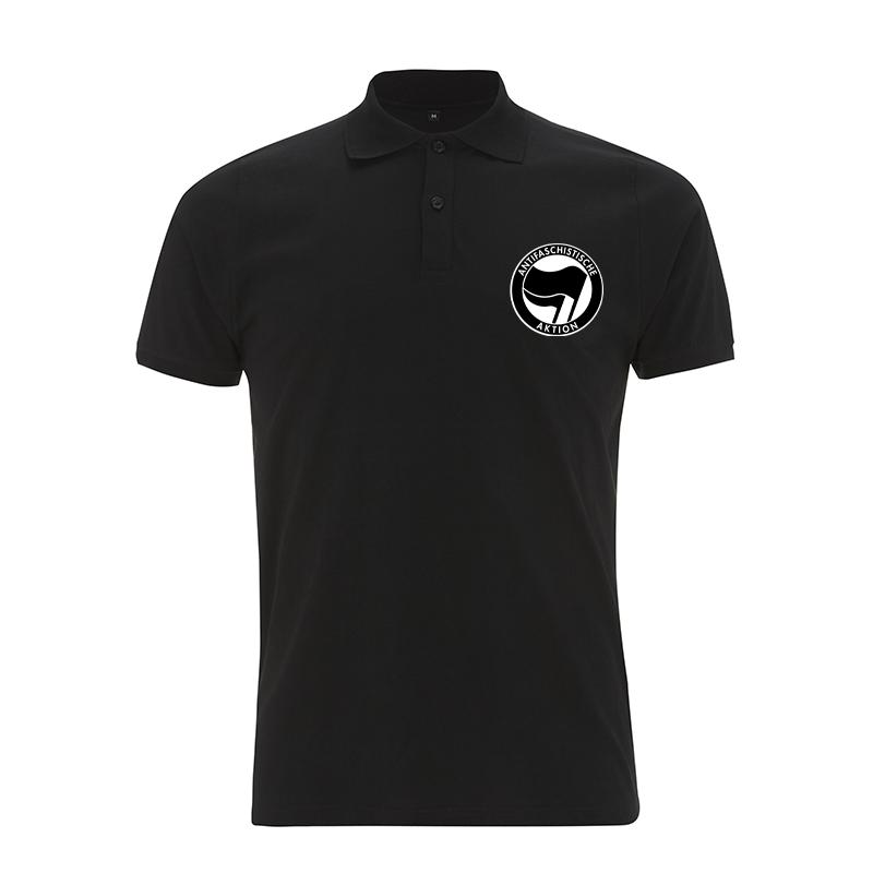 Antifaschistische Aktion - schwarz/schwarz – Polo-Shirt N34