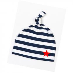 blau-weiß geringelte Babymütze mit rotem Stern