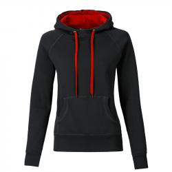 Kapuzenpullover REBEL tailliert  - schwarz/rot - SONAR CLOTHING