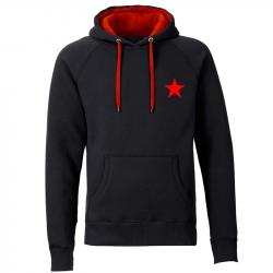 Kapuzenpullover REBEL unisex  - schwarz/rot - mit rotem Stern - SONAR CLOTHING