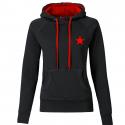 Kapuzenpullover REBEL tailliert - schwarz/rot - mit rotem Stern
