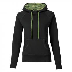 Kapuzenpullover REBEL tailliert - schwarz/wood camo - SONAR CLOTHING