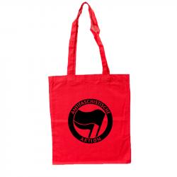 Antifaschistische Aktion - schwarz/schwarz -  roter Stoffbeutel