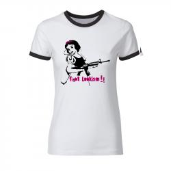 Fight lookism - tailliertes Contrast-Shirt weiß/schwarz