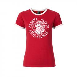 Alerta Alerta Antifascista - tailliertes Contrast-Shirt rot/weiß