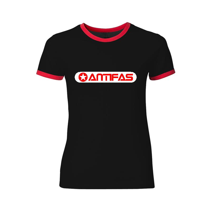 Antifas - tailliertes Contrast-Shirt tailliert schwarz/rot