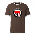 Antifaschistische Aktion - rot/schwarz - Contrast-Shirt braun/weiß
