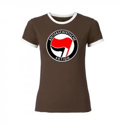 Antifaschistische Aktion - rot/schwarz - tailliertes Contrast-Shirt braun/weiß