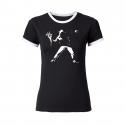 Banksy Flowers - tailliertes Contrast-Shirt schwarz/weiß