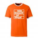 Kein Mensch ist illegal - Contrast-Shirt orange/weiß