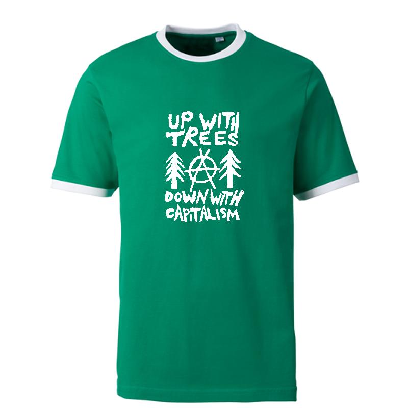 Up with trees -  Contrast-Shirt grün/weiß