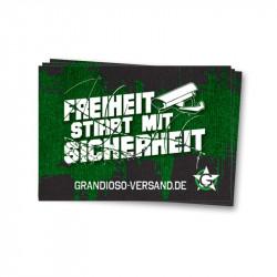 Grandioso - Freiheit stirbt mit Sicherheit - Aufkleber - 30 Stück