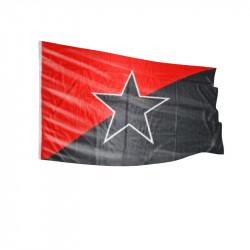 Schwarz/Rot mit schwarzem Stern - Fahne-