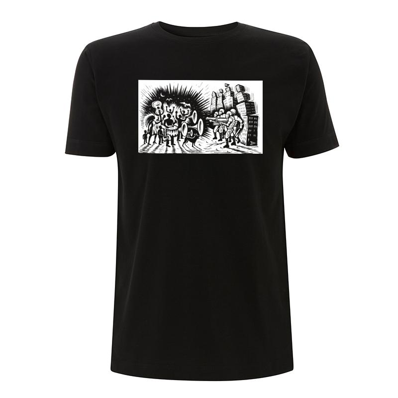 Drooker-Music vs. Military – T-Shirt N03