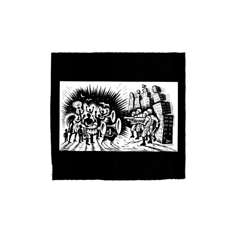 Drooker-Music vs. Military – Aufnäher