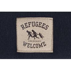 """Beanie """"Refugees Welcome"""" mit  Kunstleder Patch  - verschiedene Farben"""