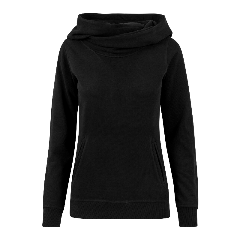 Ladies High Neck Hoody - schwarz - URBAN CLASSICS
