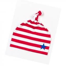 rot-weiß geringelte  Babymütze mit blauem Stern