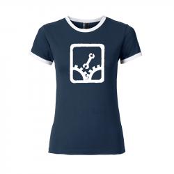 Sabotage - Contrast Shirt tailliert navy-weiß