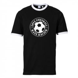 Love Football - Hate Racism -  Contrast-Shirt tailliert schwarz/weiß