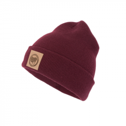 "Beanie mit Kunstleder Patch ""Antifaschistische Aktion"" burgundy"