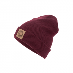 "Beanie mit Kunstleder Patch ""Good Night White Pride / Bike"" burgundy"