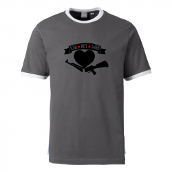Love Not War - Contrast-Shirt grau/weiß