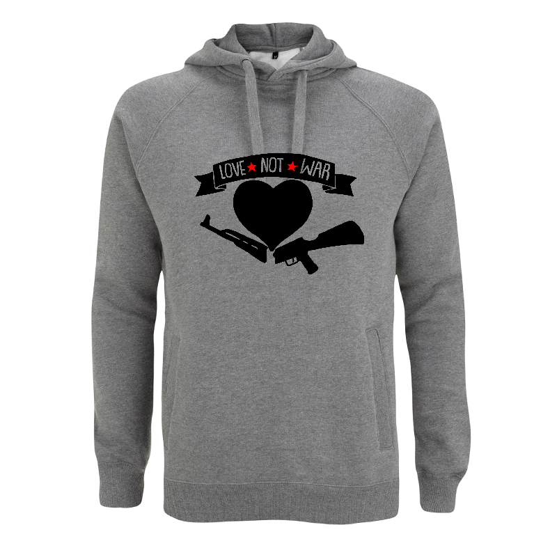 Love Not War  - grauer Kapuzenpullover - Continental N50P