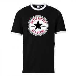 Antifascist Allstars - Black Star -  Contrast-Shirt schwarz/weiß