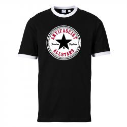 Antifascist Allstars - Black Star -  Contrast-Shirt schwarz/weiß