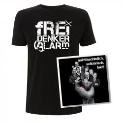 Freidenkeralarm (Logo) - T-Shirt unisex + CD ANTIFASCHISTISCH, SOLIDARISCH, LAUT!