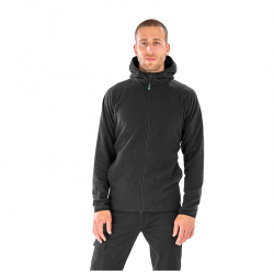 Hooded Recycled Microfleece Jacket - black, RT906