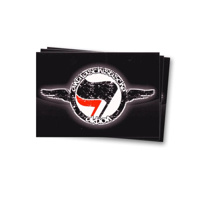 Antifaschistische Aktion auf schwarz - Aufkleber - 30 Stück