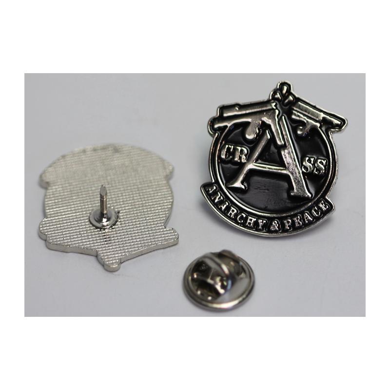 CRASS ANARCHY & PEACE , Black - Metal-Pin