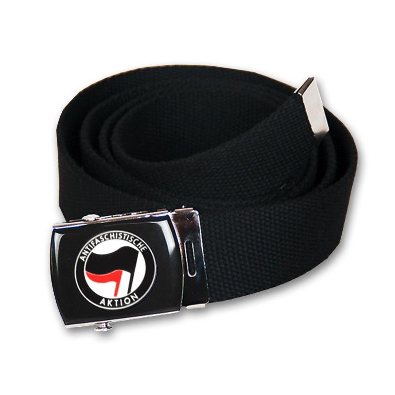 Gürtel - Antifaschistische Aktion - Belt - Schwarz/Rot