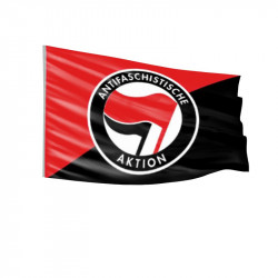 Schwarz/Rot - Antifa Logo - Fahne-